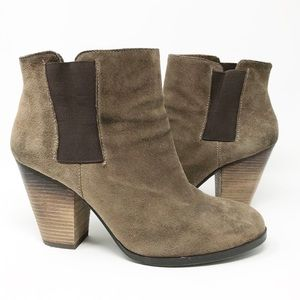 Vince Camuto Hessa Smoke Taupe Suede Ankle Booties